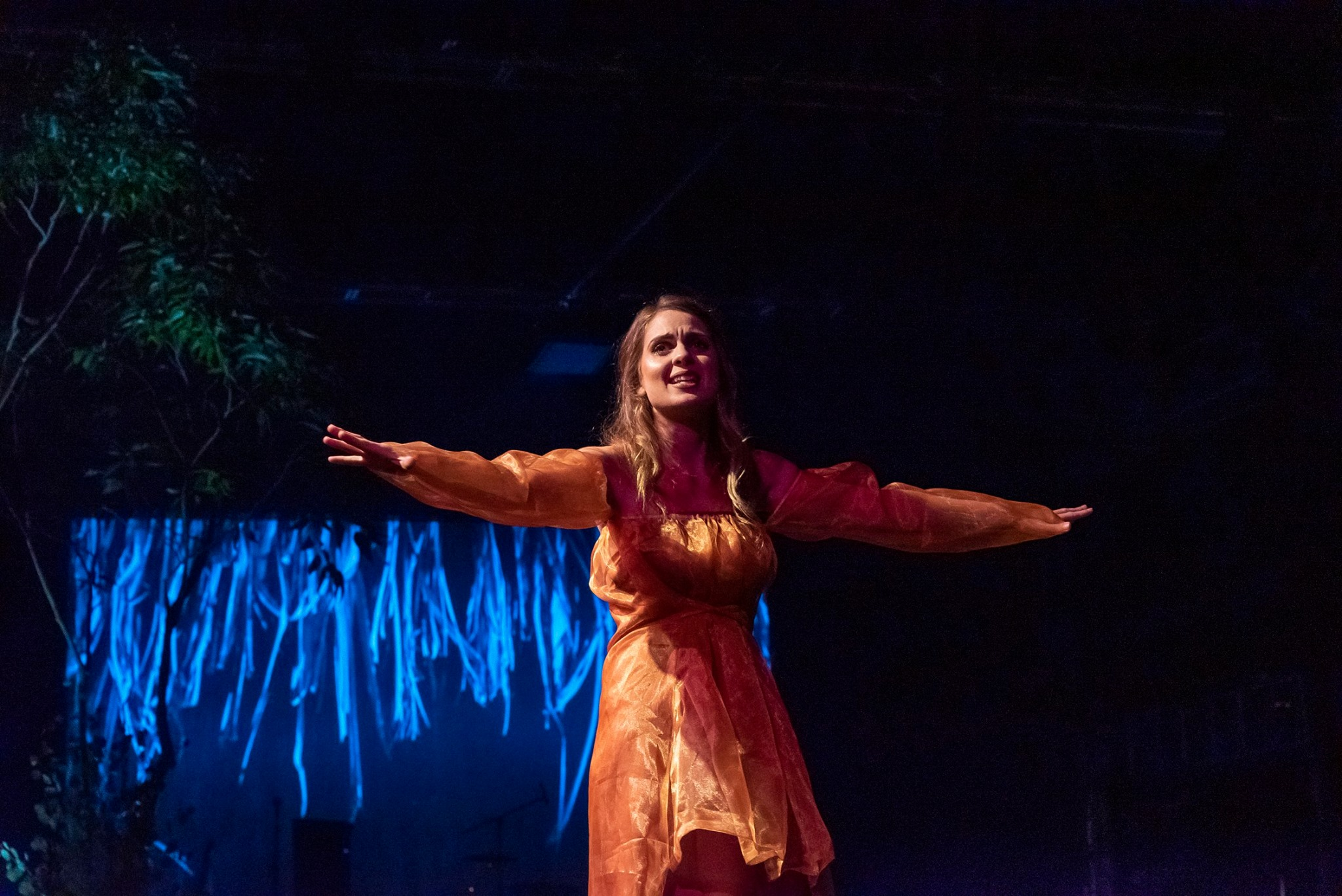 A performer wearing orange long sleeve dress standing with arms extended out straight like a bird. Dark background with a tree to the left and blue lighting.