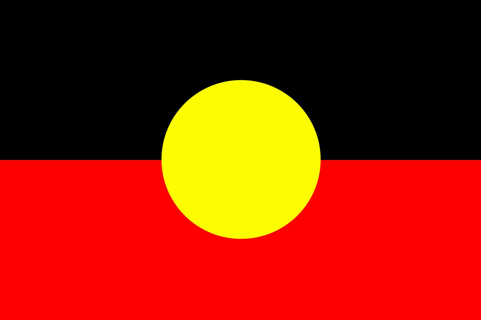 Picture of Aboriginal flag. Black on top, red on bottom with yellow round circle in Centre.
