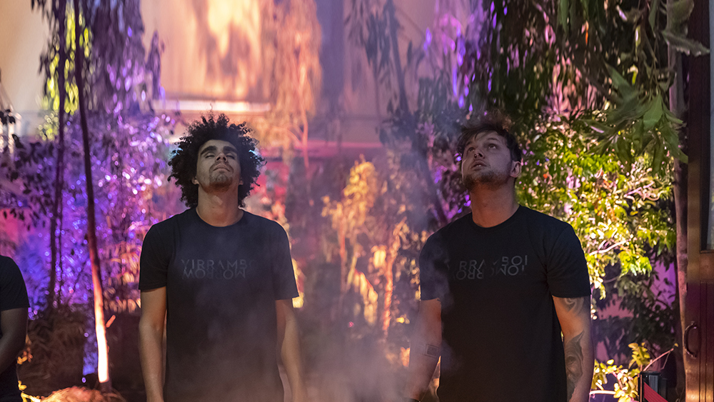 Image of two artists wearing black T-shirts standing with heads tilted back, one with eyes closed and one looking up at sky. Smoke floating in front of artists and background has trees all around with different coloured lights shining on them.